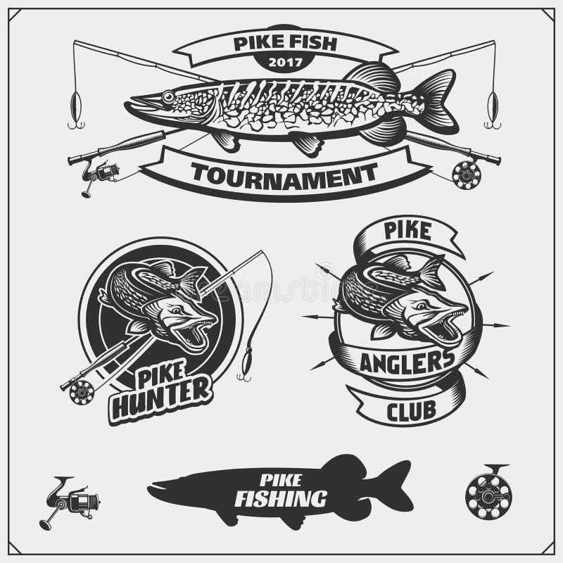 Vastgestelde af die etiketten met snoeken en een vistuig vissen Vissende emblemen en ontwerpelementen vector illustratie