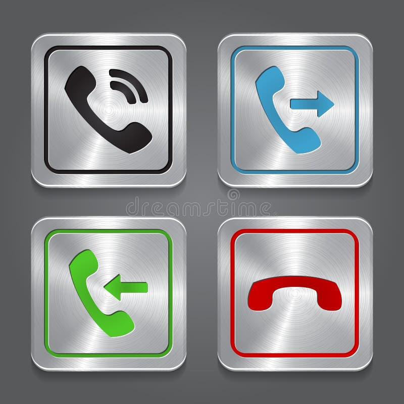 Vastgestelde app pictogrammen, metaaltelefoonknopen. vector illustratie