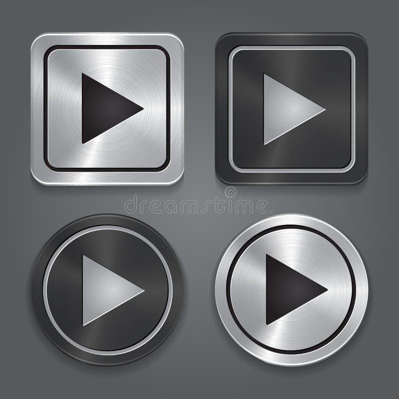 Vastgestelde app pictogrammen, realistische metaalspelknoop met vector illustratie