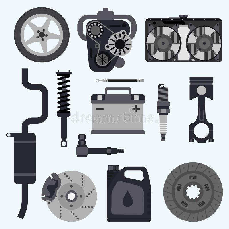 Vastgestelde autodelen stock illustratie