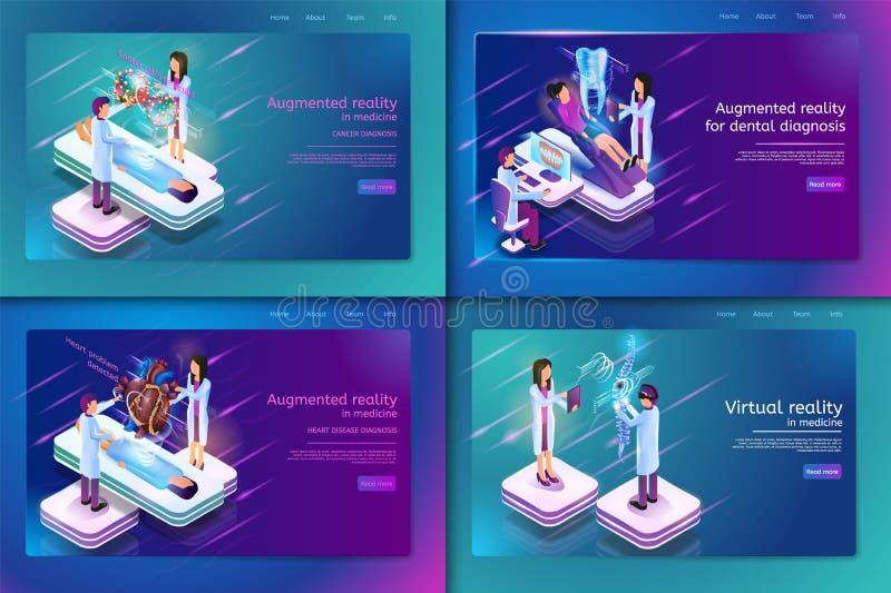 Vastgestelde Banner Isometrische Medische Behandeling voor Patiënt vector illustratie