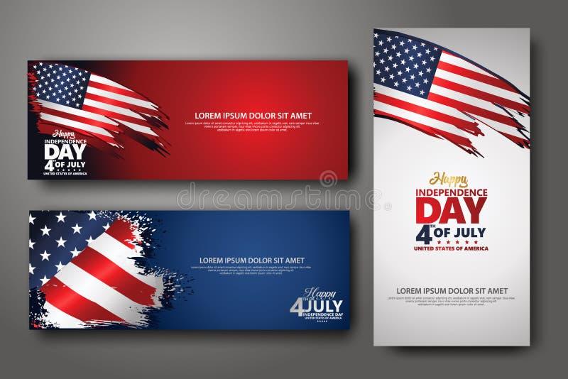 Vastgestelde bannerontwerpsjabloon Vierde van Juli-Onafhankelijkheidsdag, Vectorillustratie stock illustratie