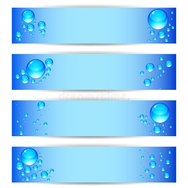 Vastgestelde banners met schone waterbellen op een blauwe achtergrond vector illustratie