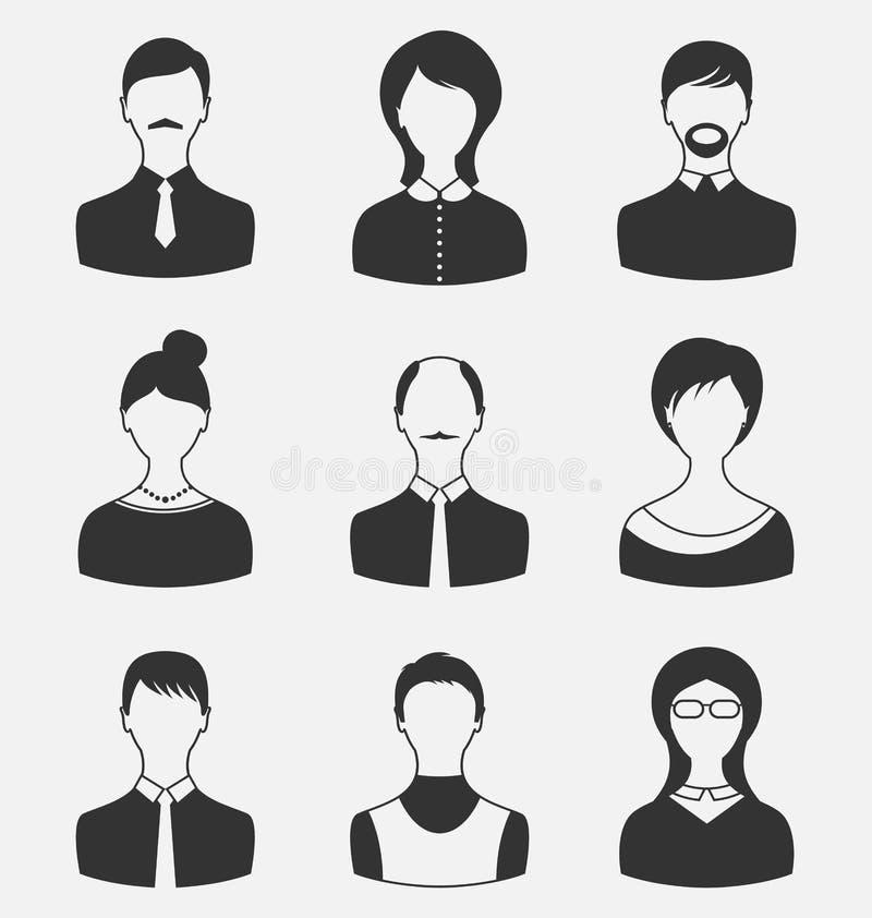 Vastgestelde bedrijfsmensen, verschillende mannelijke en vrouwelijke gebruikersavatars isol stock illustratie