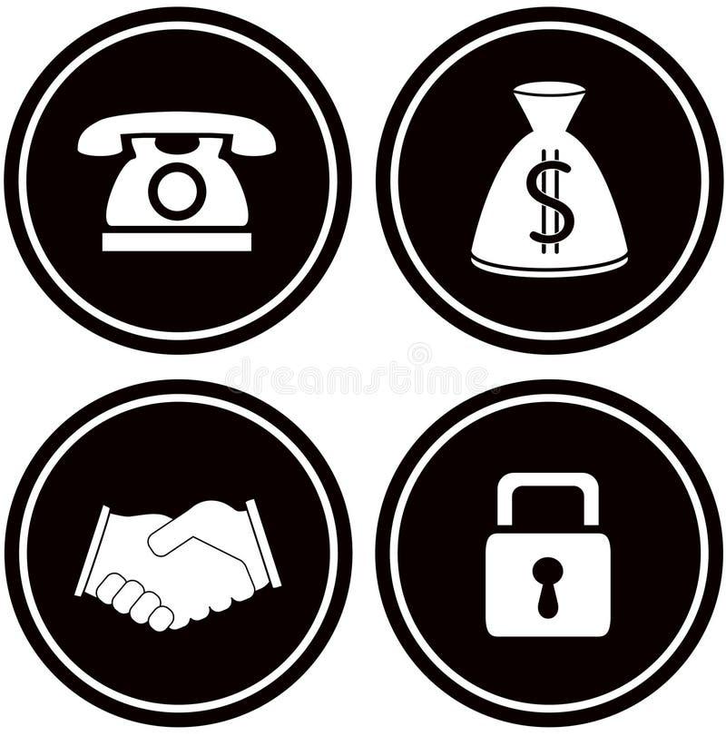 Vastgestelde bedrijfsvoorwerpen voor bankwezen vector illustratie