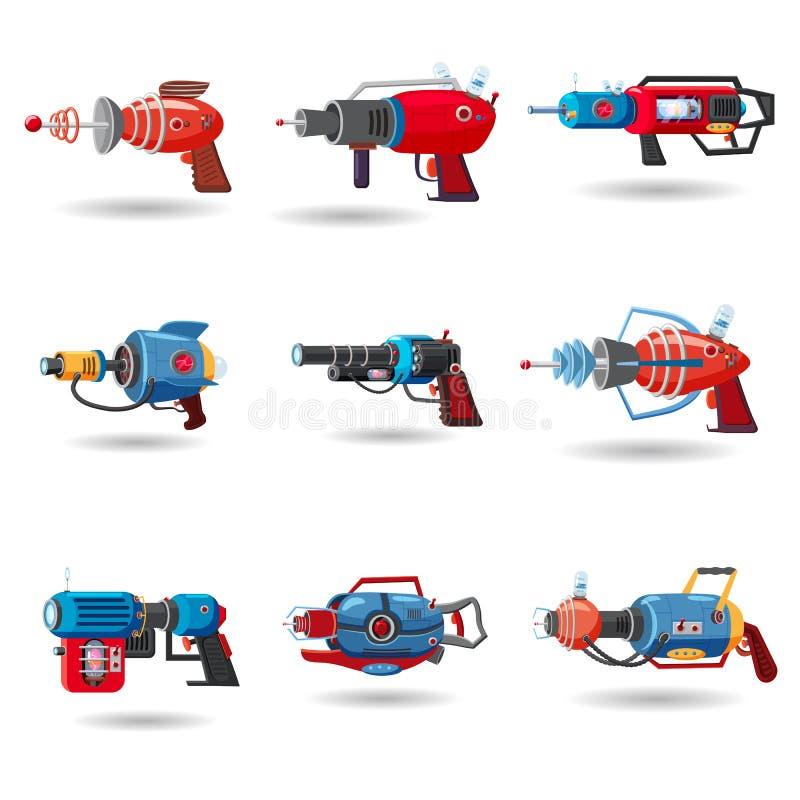 Vastgestelde beeldverhaal retro ruimtezandstraler, straalkanon, laserwapen Vector illustratie De stijl van het beeldverhaal royalty-vrije stock afbeelding
