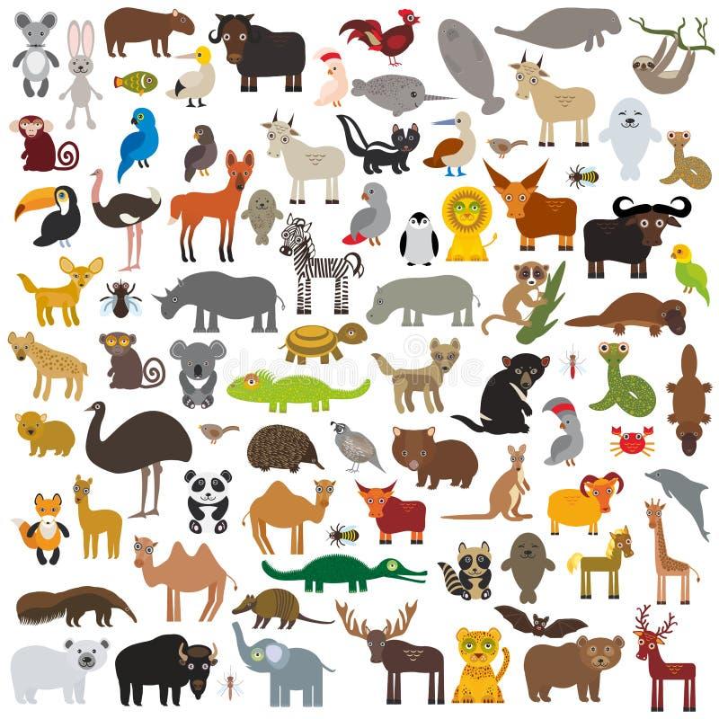 Vastgestelde Beeldverhaaldieren van over de hele wereld Australië, het Noorden en Zuid-Amerika, Eurasia, Afrika op witte achtergr royalty-vrije illustratie