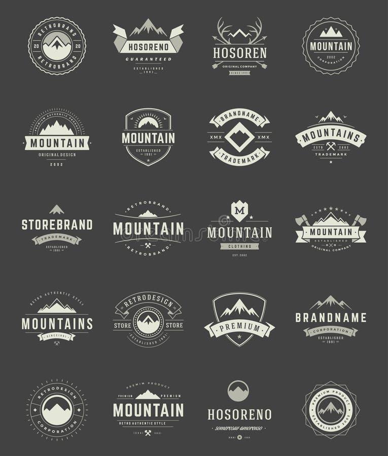 Vastgestelde Bergenemblemen, Kentekens en Etiketten stock illustratie