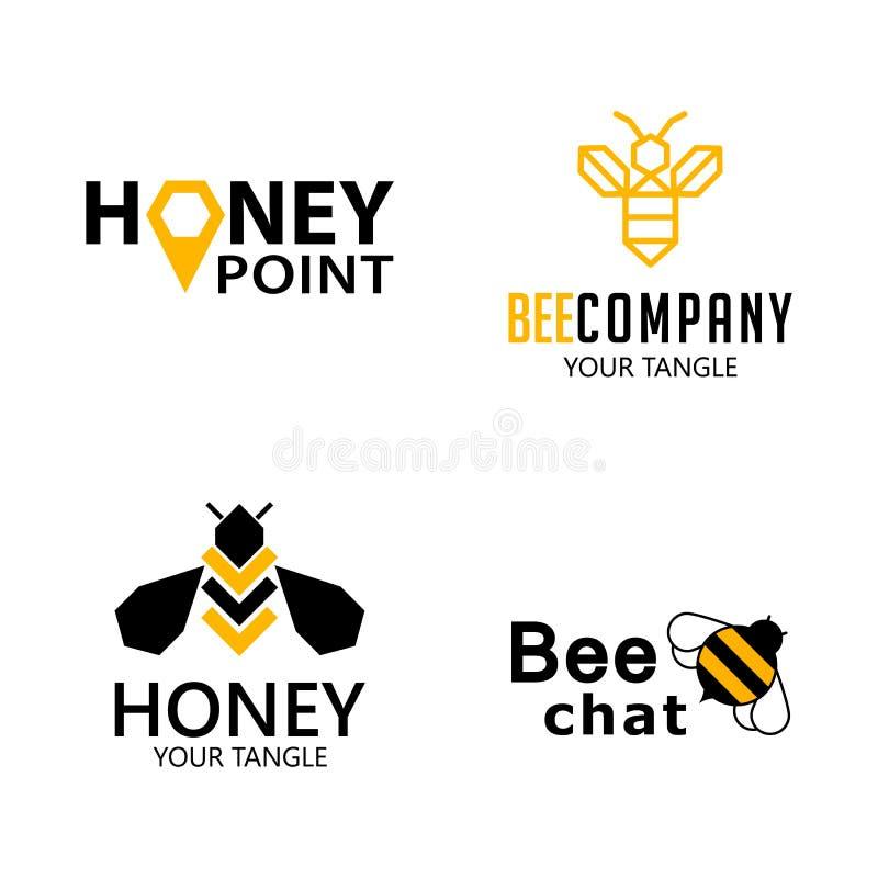 Vastgestelde bijenetiketten voor honing, embleemproducten, vectorillustratie vector illustratie