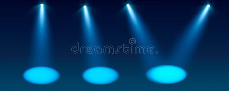 Vastgestelde Blauwe Schijnwerper vectorachtergrond Verlichte effect vormprojector, projector voor studio Minimalisticvector stock illustratie