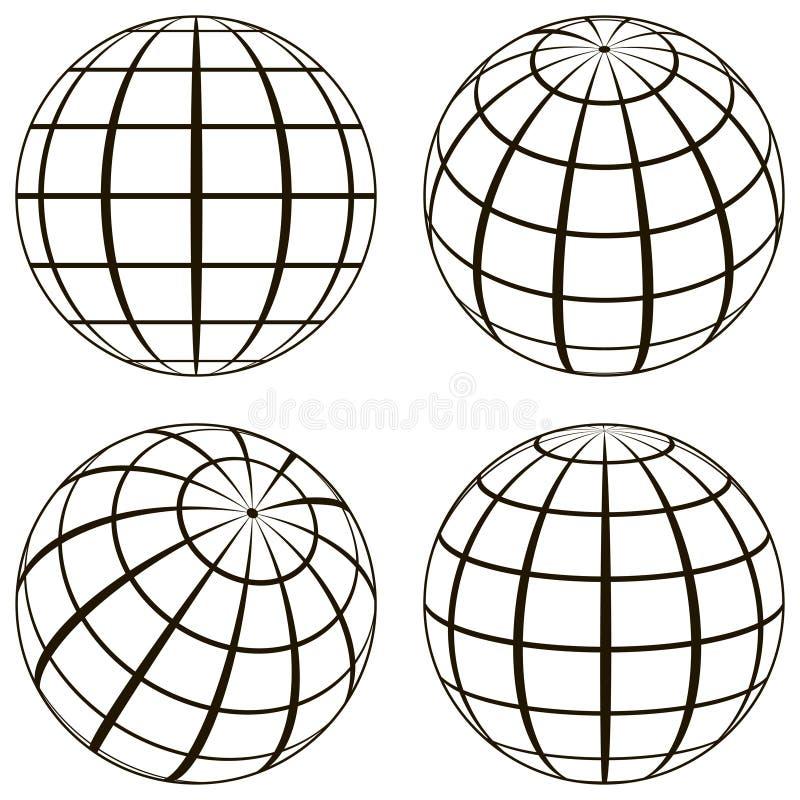 Vastgestelde bol, het technische beeld van de contouren van de aarde vector illustratie