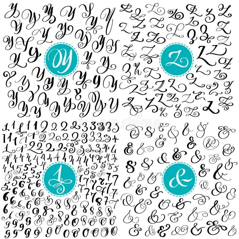 Vastgestelde brief Y, Z, aantallen, ampersand Bloeit de hand getrokken vector kalligrafie Manuscriptdoopvont Geïsoleerde die brie royalty-vrije illustratie