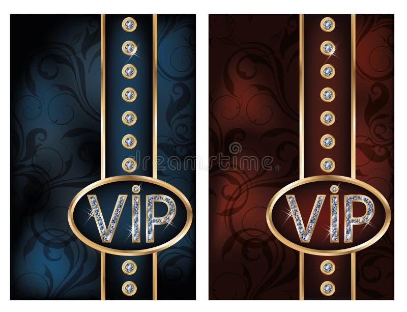 Vastgestelde briljante VIP kaarten stock illustratie