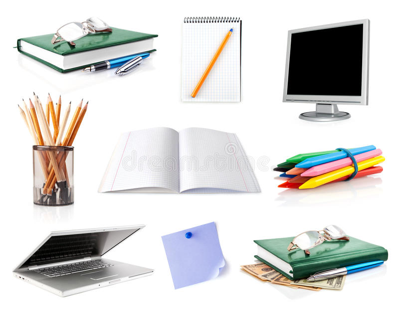 Vastgestelde bureaubezittingen die op wit worden geïsoleerd stock afbeeldingen