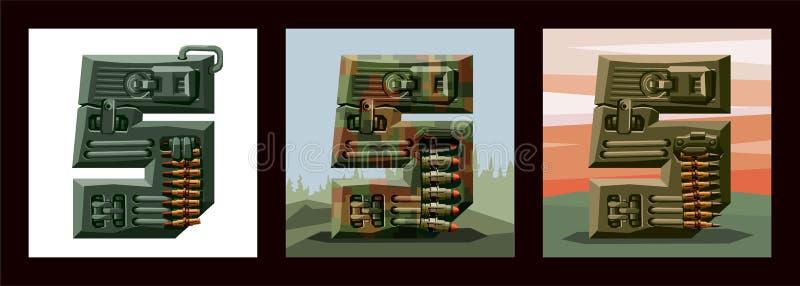 Vastgestelde cijfers 5 militaire alfabetdoopvont Vectorimitatie van oude pixelspelen, beperkt verfraaid aantal kleuren en ruwe vo stock illustratie