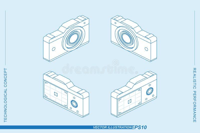 Vastgestelde 3D isometrische die de fotocamera's van de lijnkunst op de lichte achtergrond worden geïsoleerd Camera's met een len royalty-vrije illustratie