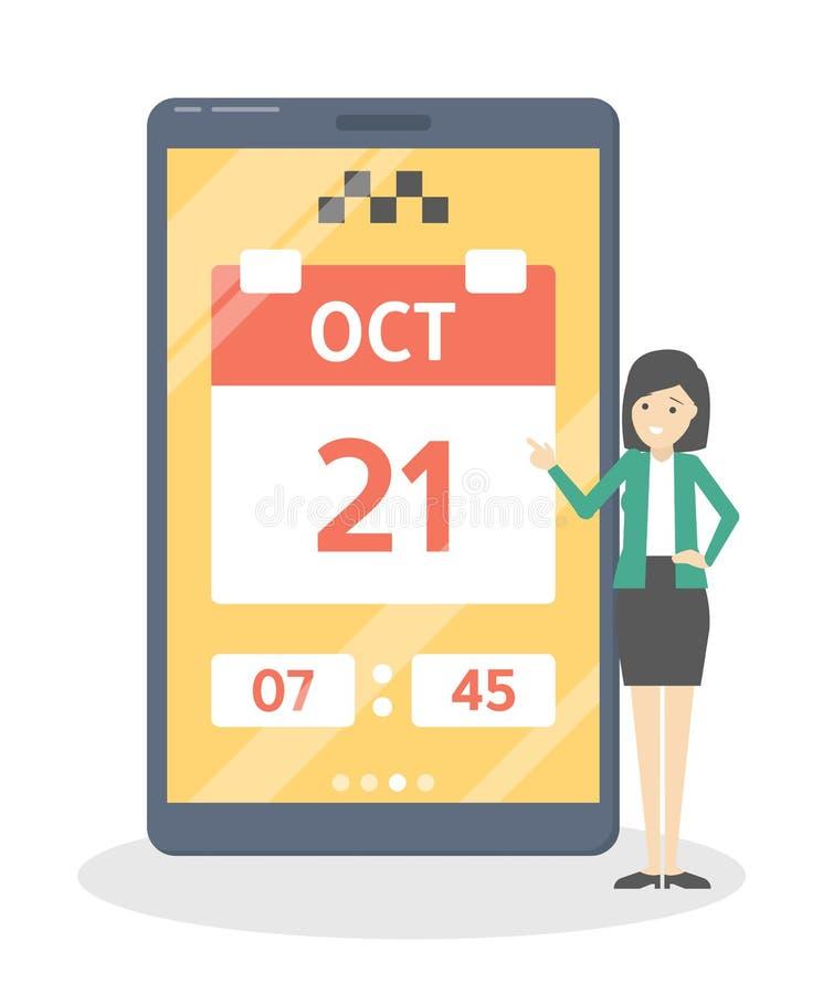 Vastgestelde datum en tijd in app royalty-vrije illustratie