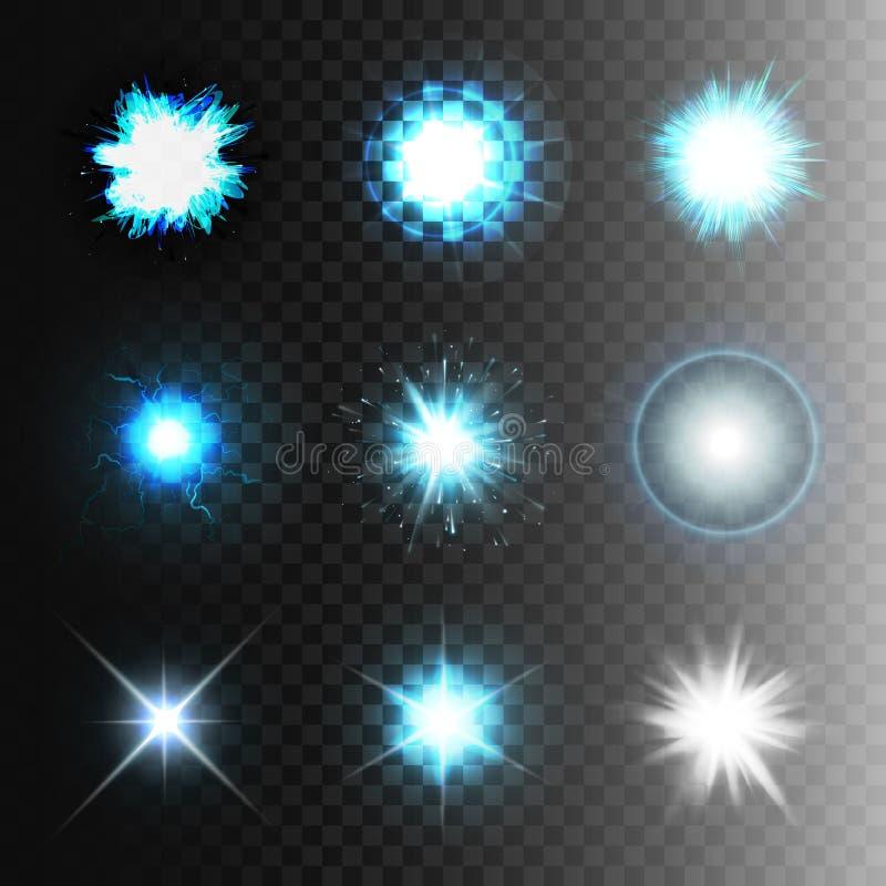 Vastgestelde de balbliksem van de voorraad vectorillustratie een transparante achtergrond Abstract plasmagebied Elektrische lossi stock illustratie