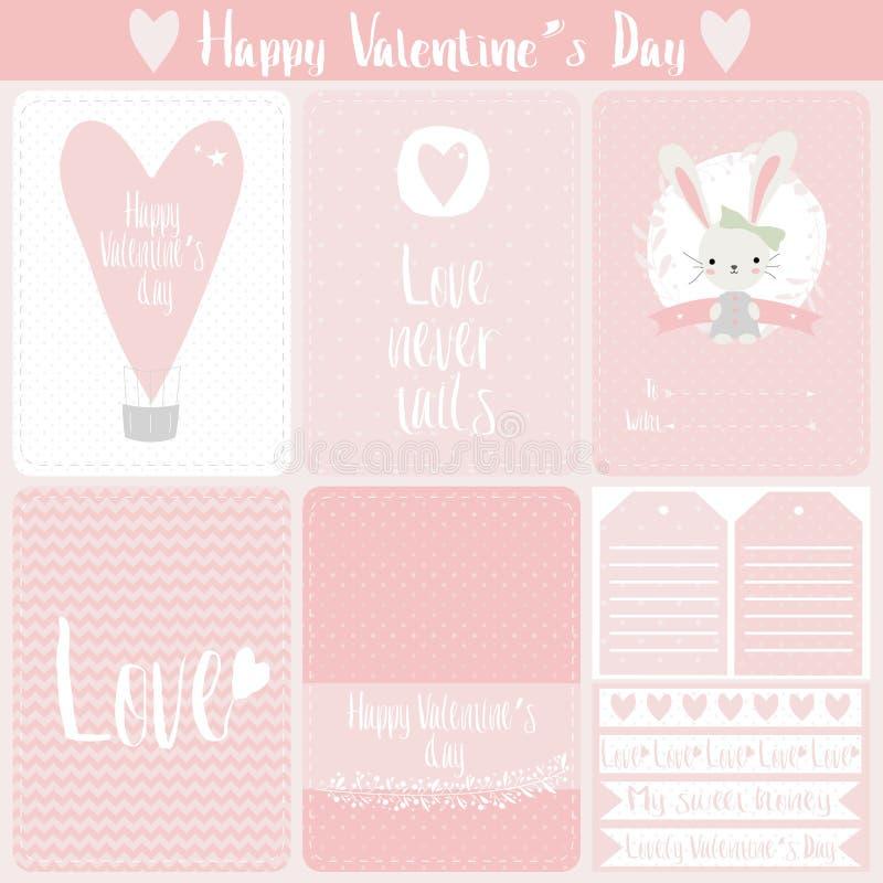 Vastgestelde de giftkaarten van de Valentijnskaartendag Vector illustratie stock illustratie