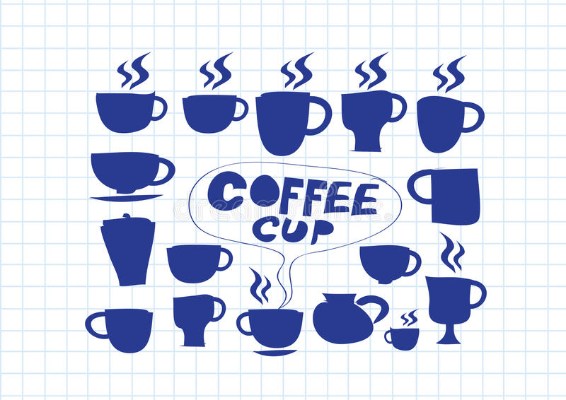 Vastgestelde de handtekening van de koffiekop vector illustratie