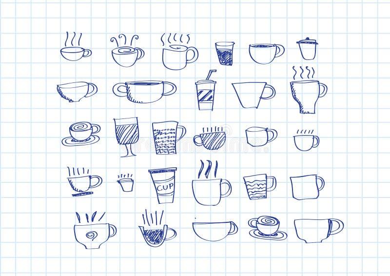 Vastgestelde de handtekening van de koffiekop stock illustratie