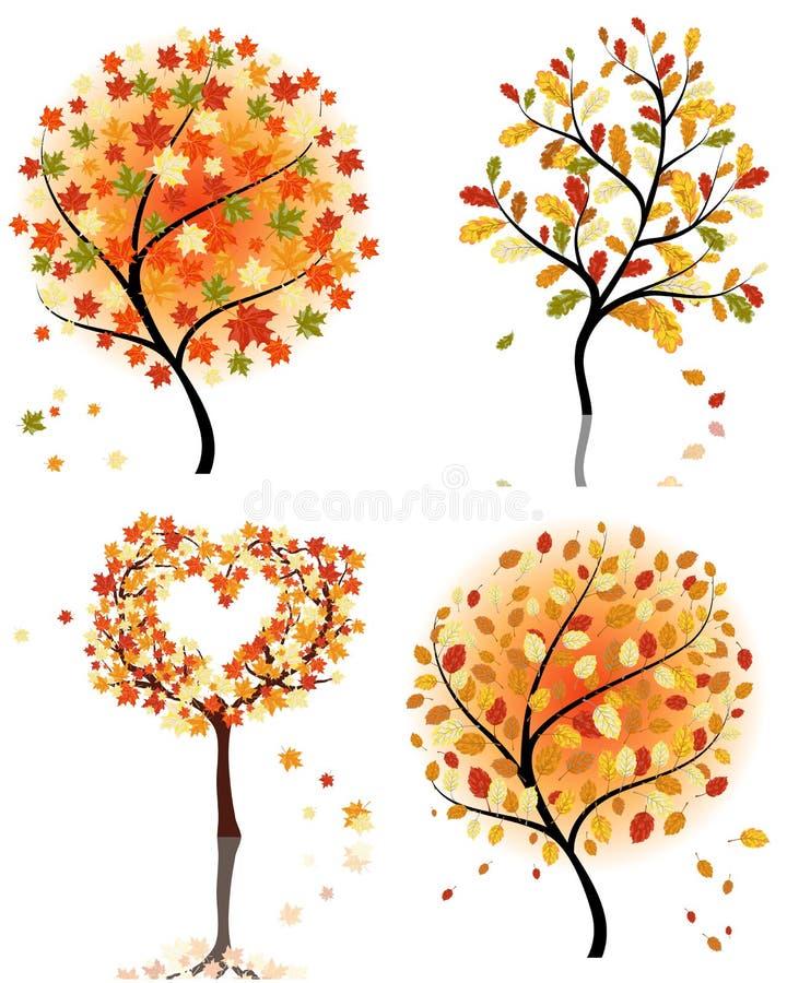 Vastgestelde de herfstboom stock illustratie