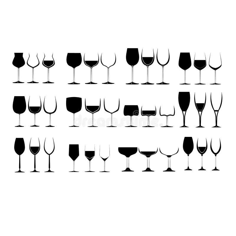 De Reeks van het Glas van de wijn vector illustratie