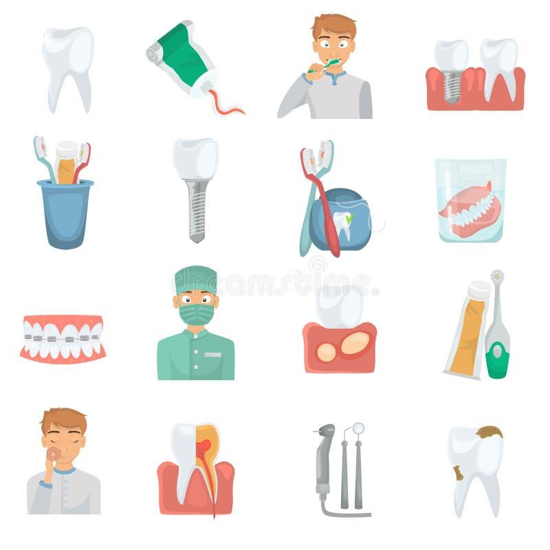 Vastgestelde de kleuren vlakke pictogrammen van de tandenzorg voor Web en mobiel ontwerp stock illustratie