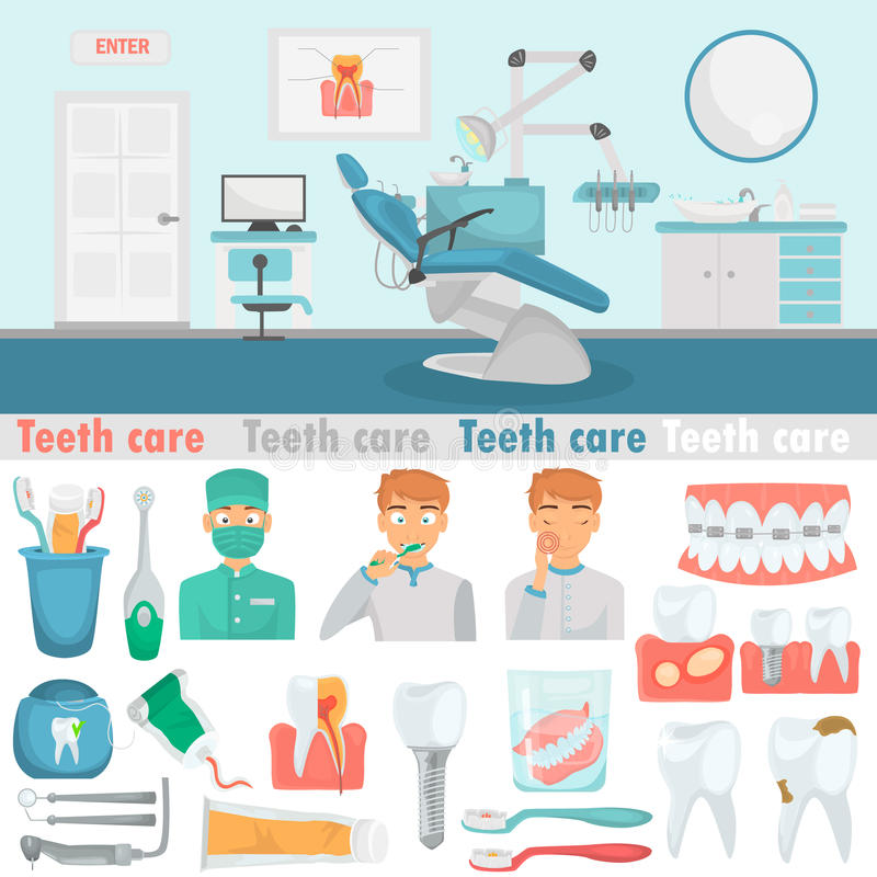 Vastgestelde de kleuren vlakke pictogrammen van de tandenzorg voor Web en mobiel ontwerp De tandillustratie van de bureaukleur vector illustratie