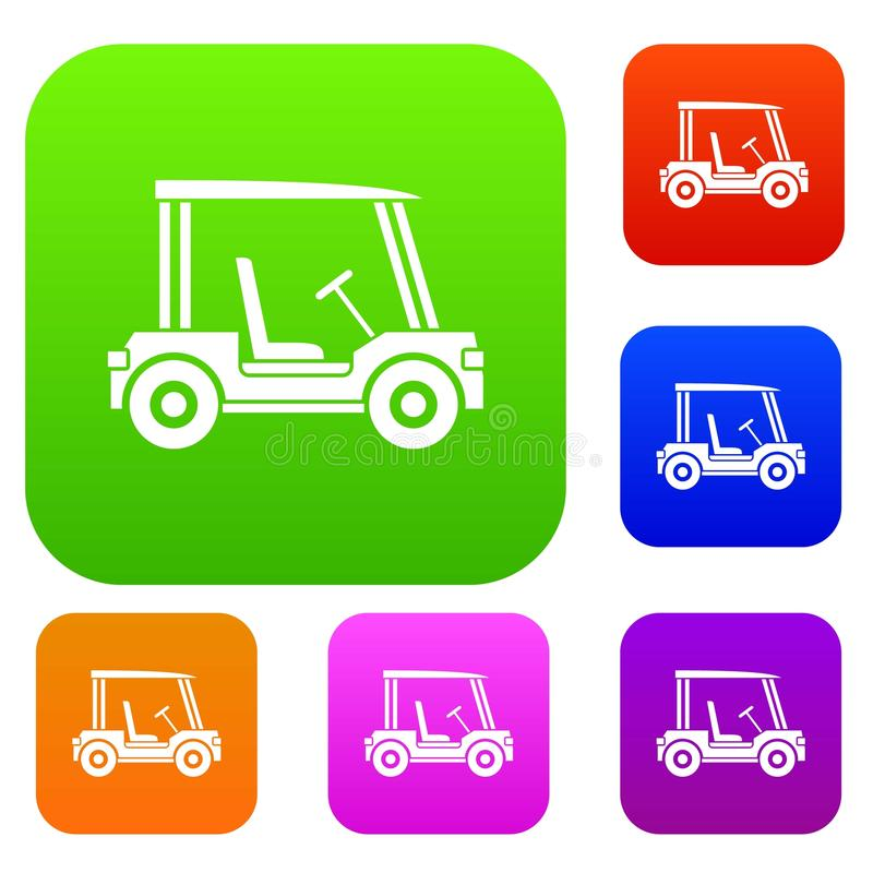 Vastgestelde de kleureninzameling van het golfclubvoertuig vector illustratie