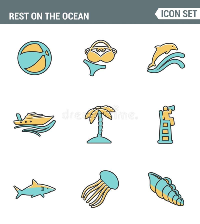 Vastgestelde de premiekwaliteit van de pictogrammenlijn van rust op de oceaan het zwemmen de vakantiezomer van de reisrecreatie M stock illustratie