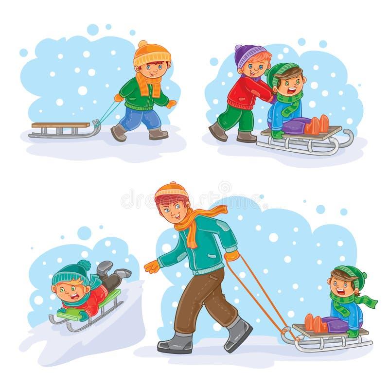 Vastgestelde de winterpictogrammen met kleine kinderen stock illustratie