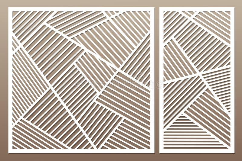 Vastgestelde decoratieve kaart voor knipsel Het geometrische Patroon van de Lijn Laser c vector illustratie