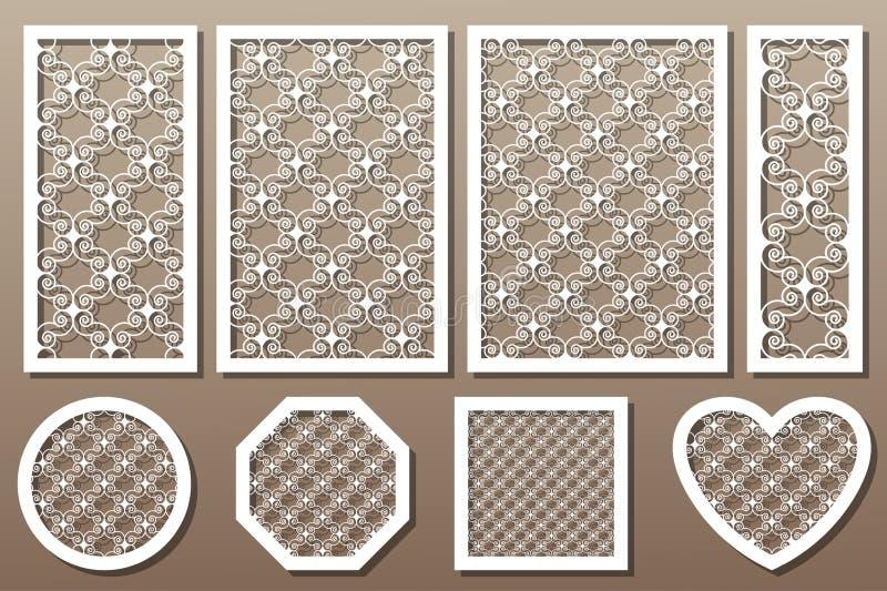 Vastgestelde decoratieve kunstelementen voor laserknipsel Geometrisch ornamen stock illustratie