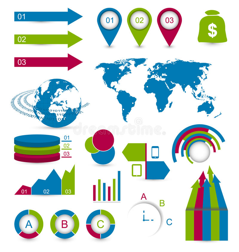 Vastgestelde detail infographic elementen voor de lay-out van de ontwerpwebsite vector illustratie