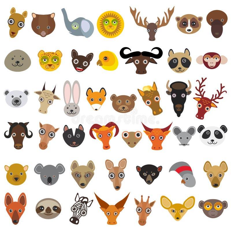 Vastgestelde die Beeldverhaaldieren van over de hele wereld, snuitdier, avatar op witte achtergrond wordt geïsoleerd Vector royalty-vrije illustratie