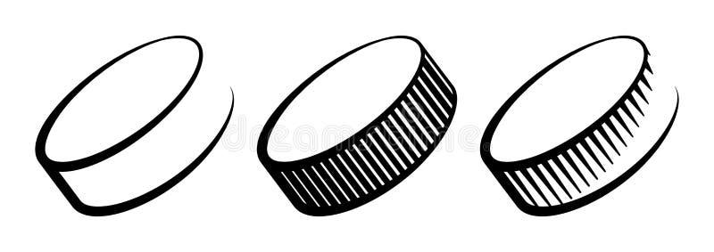 Vastgestelde die de pictogrammenvector van hockeypucks op wit wordt geïsoleerd vector illustratie