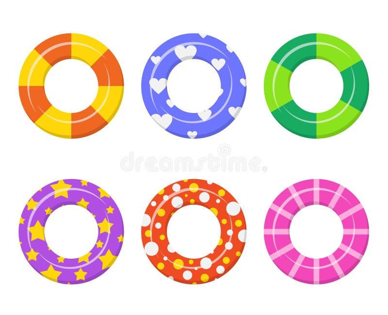 Vastgestelde die kleurrijk zwemt ringenpictogram op witte achtergrond wordt geïsoleerd stock illustratie