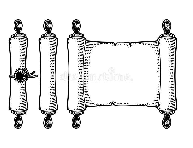 Vastgestelde die rol met verbinding op witte achtergrond wordt geïsoleerd Vectorgravure royalty-vrije illustratie
