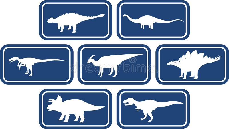 Vastgestelde Diepe Blauw van het dinosaurus het Rechthoekige Embleem