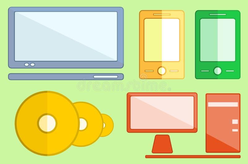 Vastgestelde digitale voorwerpen op vlakke stijl vector illustratie