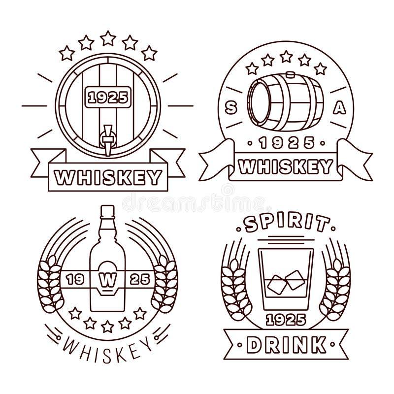 Vastgestelde dunne de lijnstijl van het wiskyembleem De vectoralcohol drinkt moderne etiketten voor bar en bar royalty-vrije illustratie