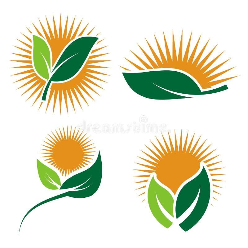 Vastgestelde Ecologieemblemen van groen het elementenpictogram van de bladaard op witte achtergrond illustrator stock illustratie