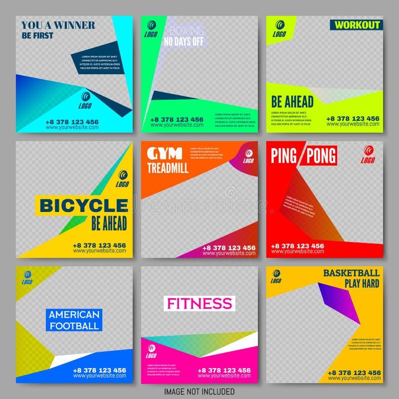 Vastgestelde Editable-Malplaatjes Sport die Promo opleiden royalty-vrije illustratie
