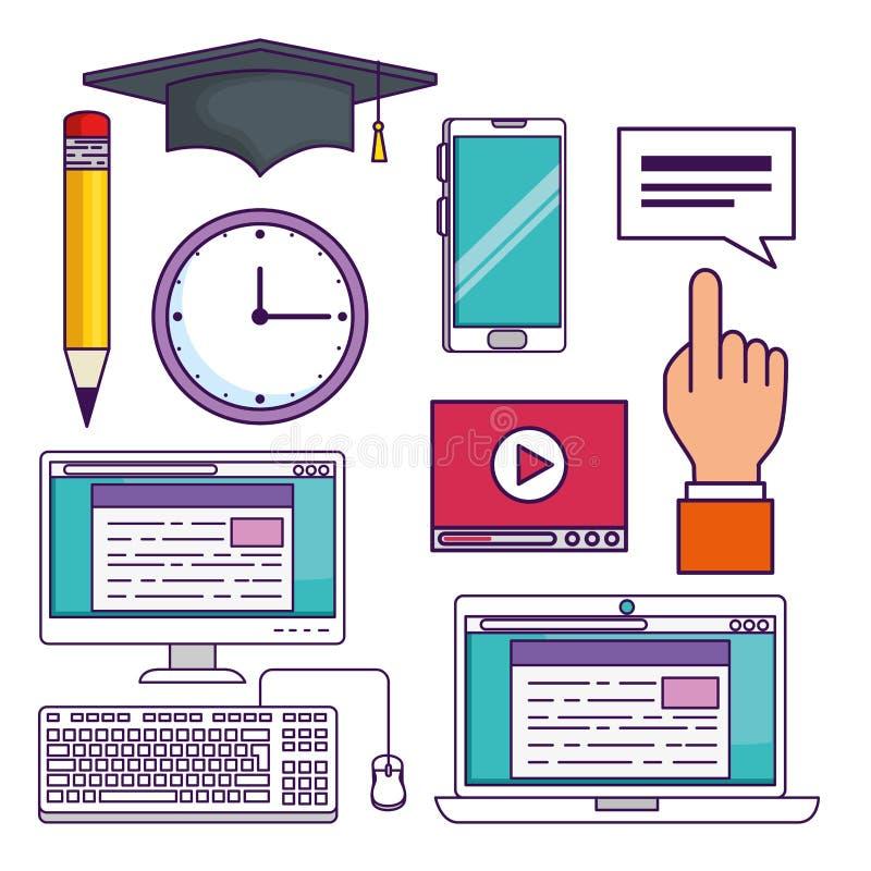 Vastgestelde elearning certificaatstudie aan onderwijstechnologie royalty-vrije illustratie
