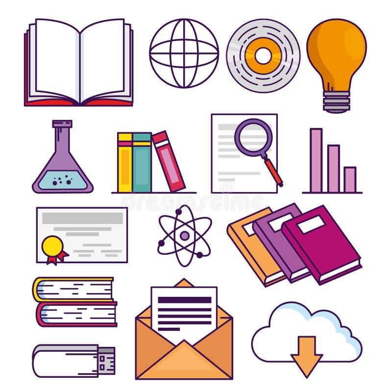 Vastgestelde elearning onderwijstechnologie aan online studie royalty-vrije illustratie