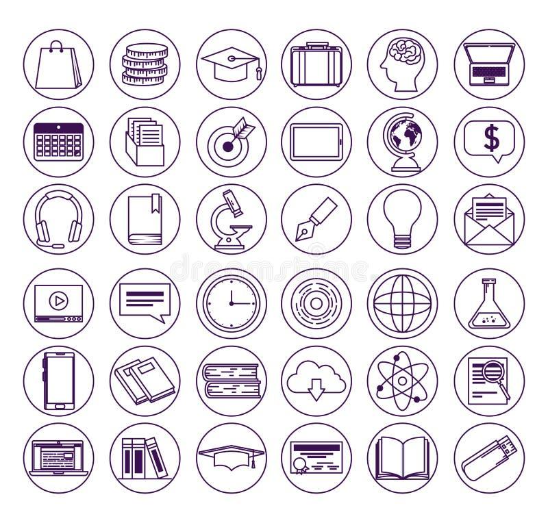 Vastgestelde elearning technologie aan online onderwijsstudie vector illustratie