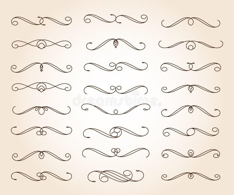 Vastgestelde elegante decoratieve rolelementen Vector Vector illustratie bruin royalty-vrije illustratie