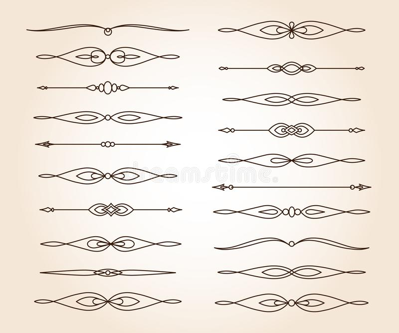 Vastgestelde elegante decoratieve rolelementen Vector Vector illustratie bruin stock illustratie