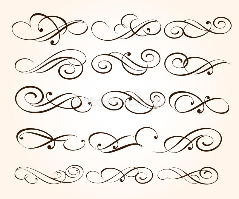 Vastgestelde elegante decoratieve rolelementen Vector illustratie stock illustratie